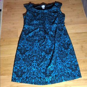 Motherhood Maternity brocade dress teal/black M